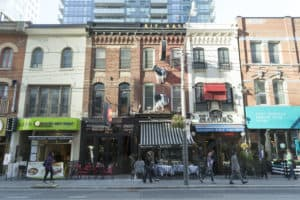Photo of businesses along King West in Toronto