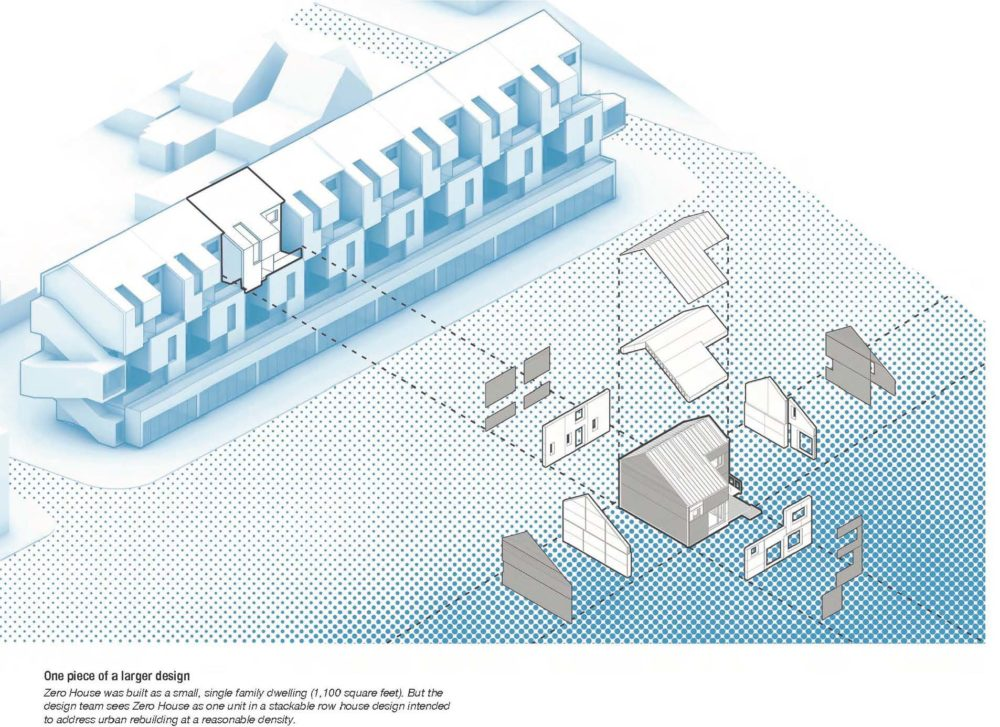 Graphic showing how the design of a house was pulled from a larger design for stacked town homes.
